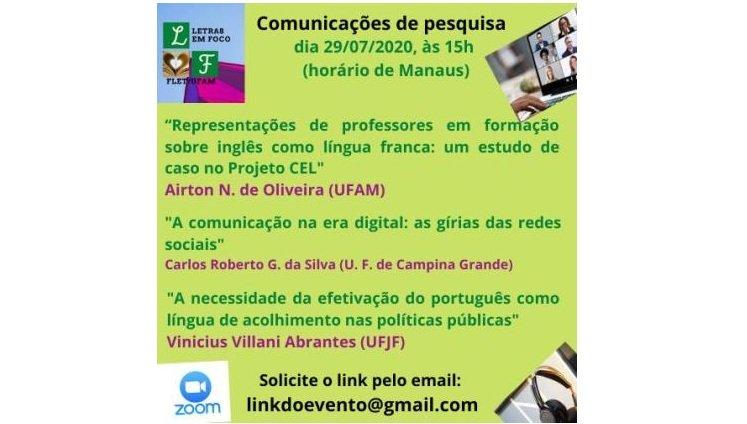 FLet promove Comunicações de Pesquisa no dia 29 de julho de 2020