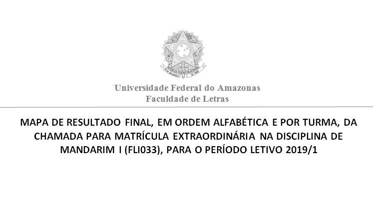 A Faculdade de Letras divulga o Resultado Final da Chamada para matrícula na disciplina Mandarim I, período letivo 2019/1